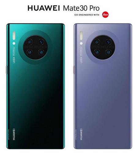 Ảnh dựng Huawei Mate 30 Pro với 4 camera xếp tròn.