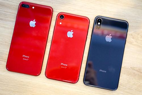 Giá iPhone XR (giữa) bản chính hãng còn thấp hơn hai model đời cũ iPhone X và iPhone 8 Plus. Ảnh: Tuấn Anh.