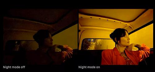Chụp đêm bằng iPhone 11 khi bật Night Mode (bên phải) và khi tắt (bên trái). Ảnh: The Verge.
