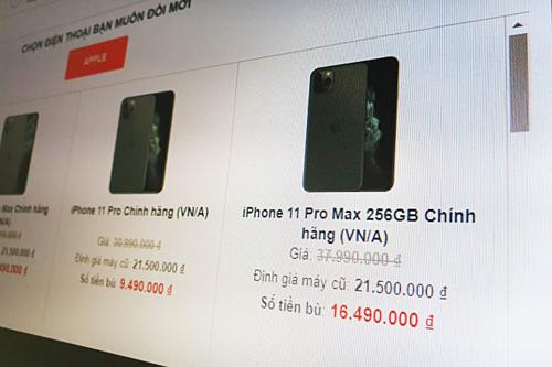 iPhone XS Max 256GB có giá máy mới khoảng 32-35 triệu đồng, được định giá 21,5 triệu khi đổi lên iPhone 11.