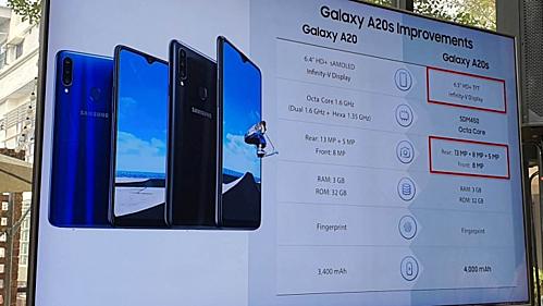 So sánh giữa Galaxy A20 và Galaxy A20s.