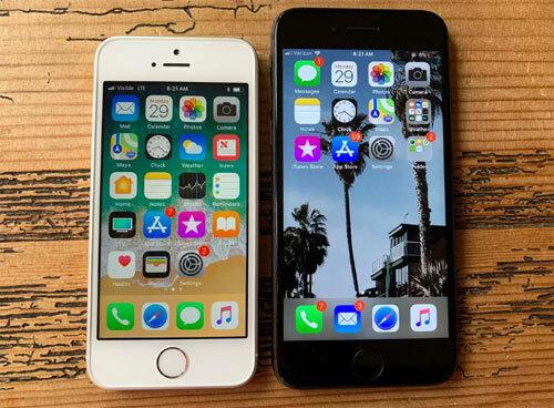 iPhone SE (trái) so dáng với iPhone 8. Ảnh: CNet.