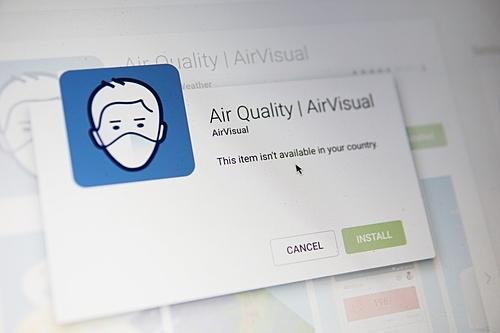 AirVisual thông báo không khả dụng tại Việt Nam.