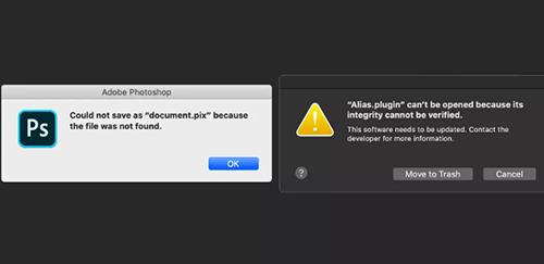 Lỗi khi mở các trình cắm hỗ trợ trên Photoshop. Ảnh: The Verge.