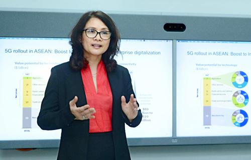 Bà Lương Thị Lệ Thủy, Giám đốc Cisco Việt Nam, cho rằng nguồn nhân lực giá rẻ của Việt Nam không còn là lợi thế trong cách mạng 4.0. Ảnh: Mạnh Vỹ.