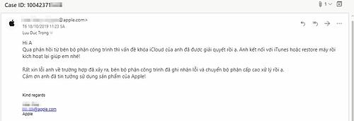 Email Apple gửi đến người dùng nói về việc mở khóa iPhone.
