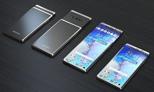 Ảnh dựng điện thoại trượt màn hình dẻo dựa trên bằng sáng chế của Samsung. Ảnh: Techeblog.