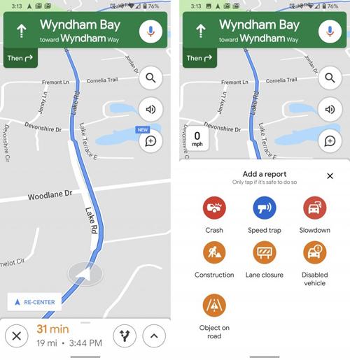 Người dùng có thể báo cáo nhanh các vị trí bắn tốc độ, xe tai nạn khi đang dùng tính năng dẫn đường.