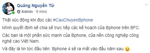 Chia sẻ đầu tiên của ông Nguyễn Tử Quảng về Bphone 4.