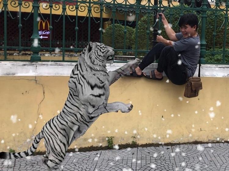 Không chỉ dừng lại ở việc đi dạo, chú hổ còn có thể thực hiện các chuyển động phức tạp như gầm, vồ, chồm lên người, hay đi lên, xuống cầu thang.