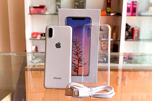 Một mẫu iPhone mini đi kèm hộp, ốp lưng và cáp sạc microUSB. Ảnh: Nhung Tâm.