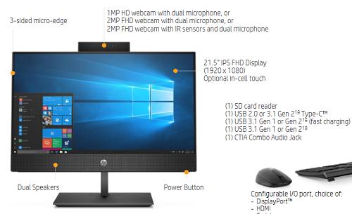 Các thông số trên hai chiếc HP ProOne 400 G5 và 600 G5.