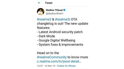 Bài đăng trên Twitter cá nhân của CEO Realme Ấn Độ. Ảnh: GizChina