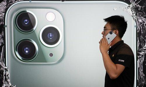 iPhone 11 kém hơn đối thủ cùng phân khúc về khả năng kết nối với mạng 5G. Ảnh: Global Times