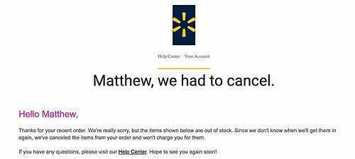 Trong e-mail gửi cho Seelig, Walmart cho biết đã hết Apple Watch Series 3 và sẽ hoãn đơn đặt trước vô thời hạn vì không biết khi nào hàng mới về. Ảnh: Business Insider.