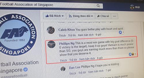 Mộtđộng viên chê đội tuyển Việt Nam nghèo nên sẽ đá thua Singapore.