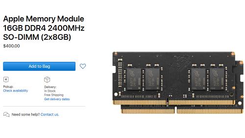 Mô-đun 16 GB RAM DDR 4 của Apple có giá lên tới 400 USD. Ảnh: Apple.
