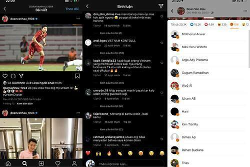 Instagram và Facebook của Đoàn Văn Hậu bị cổ động viên Indonesia tấn công.