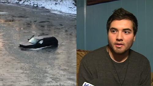 Chiếc xe Jeep gặp tai nạn (trái) và Gael Salcedo (phải). Ảnh: CBS 18.