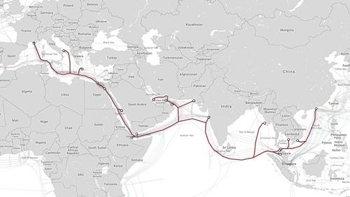 Tuyến cáp AAE-1 kết nối Việt Nam với quốc tế. Ảnh: FPTTelecom