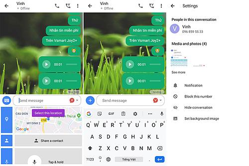 Một số hình ảnh giao diện của ứng dụng nhắn tin Vmessage.
