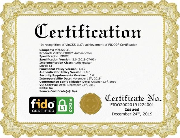 Chứng chỉ FIDO2 được trao cho VinCSS.