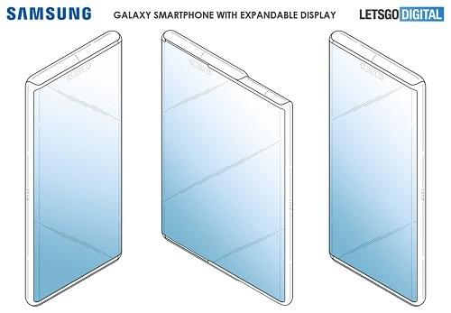 Bản phác thảo thiết kế smartphone kéo dãn màn hình của Samsung. Ảnh: Lets Go Digital.