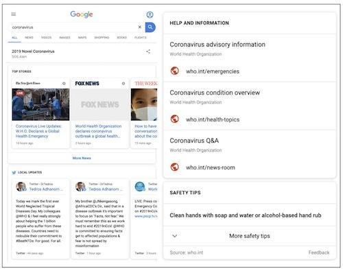 Google kích hoạt chế độ SOS khi tìm kiếm từ khoá corona virus.