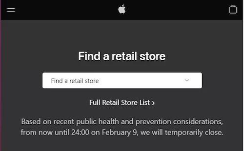 Apple tạm thời dừng hoạt động tại Trung Quốc cho đến ngày 9/2 tới.