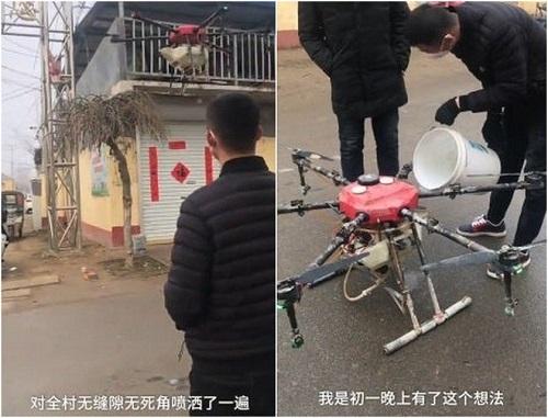 Drone phun thuốc khử trùng và nhắc nhở người dân đeo khẩu trang ở nơi công cộng. Ảnh: Express.