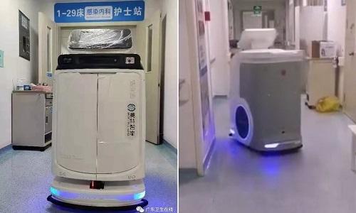 Robot vệ sinh trong một bệnh viện ở Quảng Đông. Ảnh: Guangdong Provincial Health Commission.