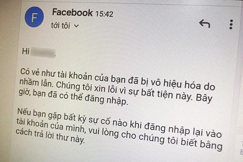Facebook gửi mail xin lỗi người dùng vì nhầm lẫn khi khóa tài khoản.
