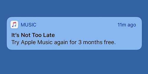 iOS gửi thông báo dụ người dùng đăng ký dịch vụ.