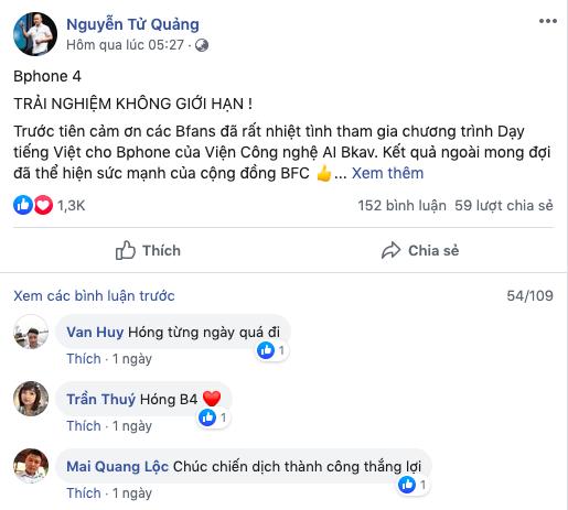 Chia sẻ về chi tiết Bphone 4 của CEO Nguyễn Tử Quảng ngày 2/3 nhận được nhiều phản hồi tích cực.