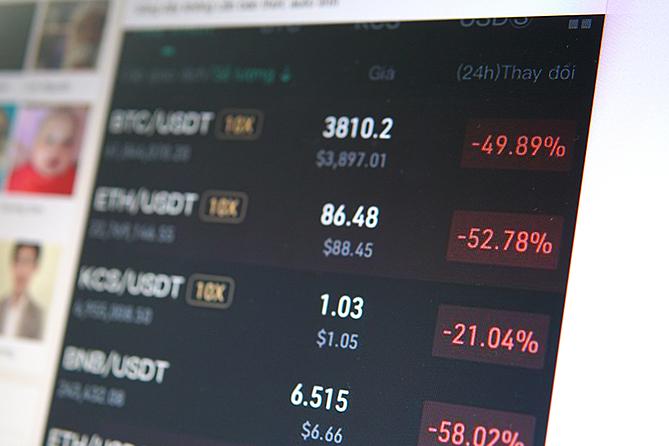 Màu đỏ thể hiện sự sụt giảm giá trị của đồng tiền mã hóa.