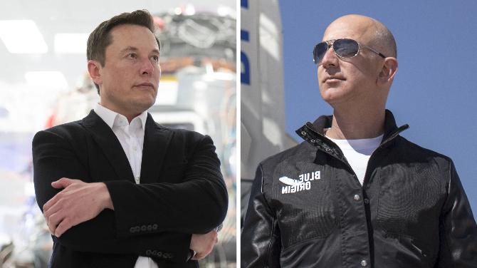 Elon Musk (trái) và Jeff Bezos (phải). Ảnh: Tech Crunch/Tech Radar.