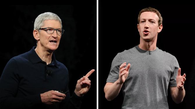 Tim Cook (trái) và Mark Zuckerberg. Ảnh: Time/The Verge.