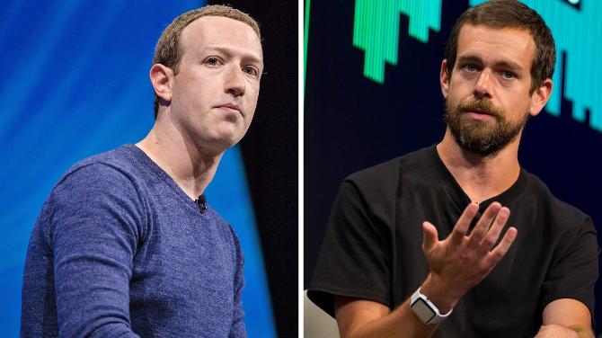 Mark Zuckerberg (trái) và Jack Dorsey (phải). Ảnh: Engadget/The Print.
