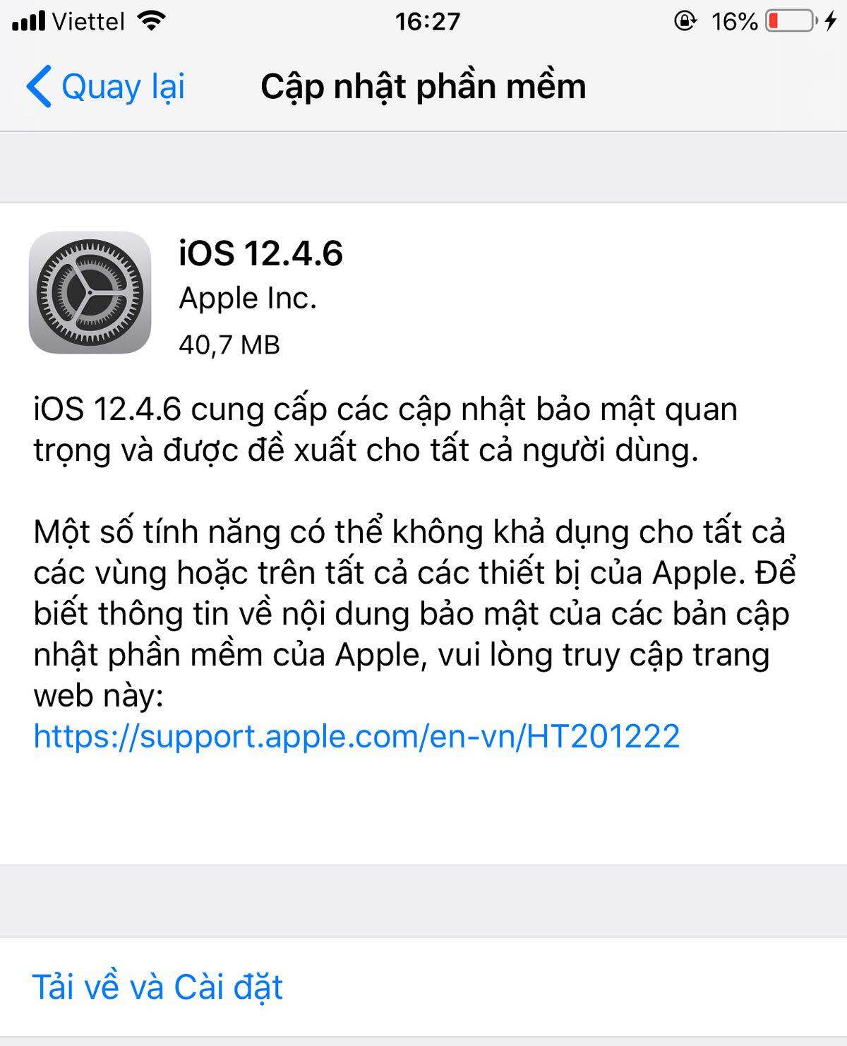 iOS 12.4.6 không có tính năng mới mà chỉ sửa lỗi về bảo mật.