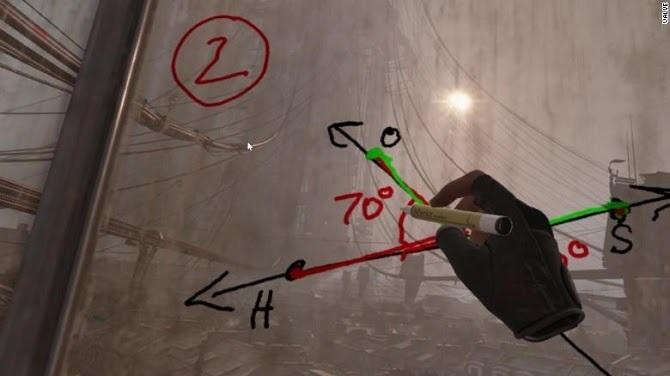Thầy giáo ở San Diego dạy hình học trong trò chơi Half-life: Alyx. Ảnh: CNN.