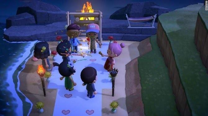 Đám cưới ảo trong trò chơi Animal Crossing: New Horizons. Ảnh: CNN.