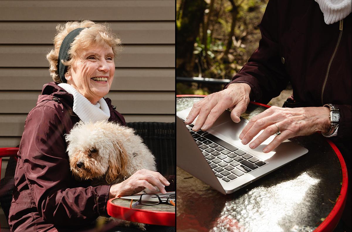 Bà Linda Quinn bên cún cưng Lucy và khi tập sử dụng laptop. Ảnh: New York Times.