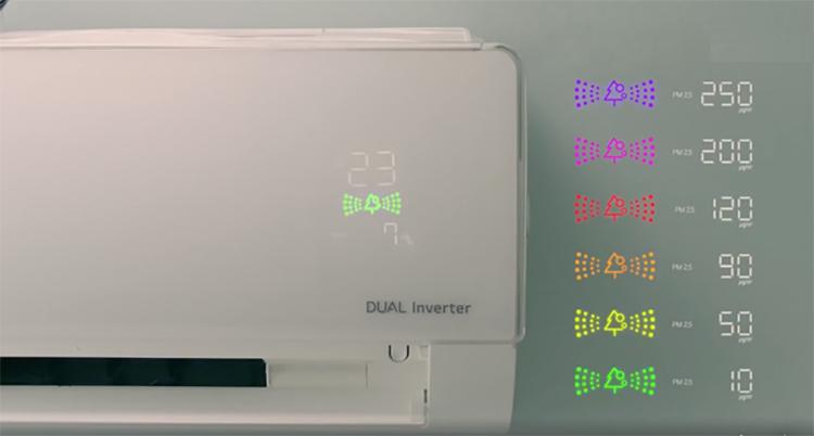 Người dùng dễ dàng theo dõi chất lượng không khí trong nhà qua màn hình cảm ứng trên mặt điều hòa LG hiển thị các mức độ chất lượng không khí với 6 màu tương ứng.