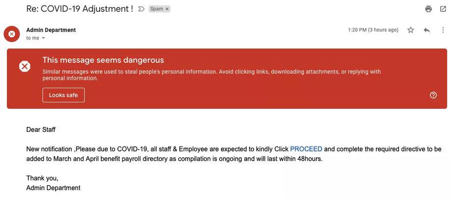 Một email lừa đảo có nội dung về Covid-19.