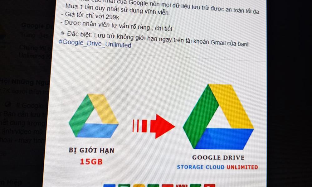 Tài khoản Google Drive không giới hạn dung lượng được bán tràn lan.
