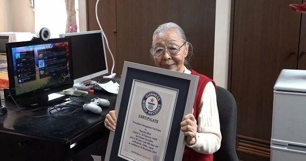 Ở tuổi 90, cụ Hamako Mori được được Guinness công nhận là YouTuber chơi game lớn tuổi nhất thế giới. Ảnh: Guinnessworldrecords.