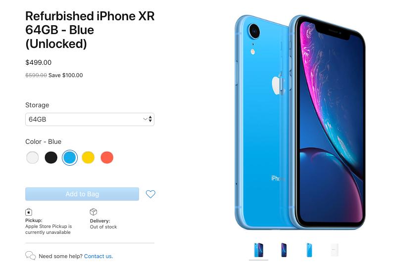 iPhone XR tân trang được bán với đầy đủ màu sắc và dung lượng bộ nhớ.