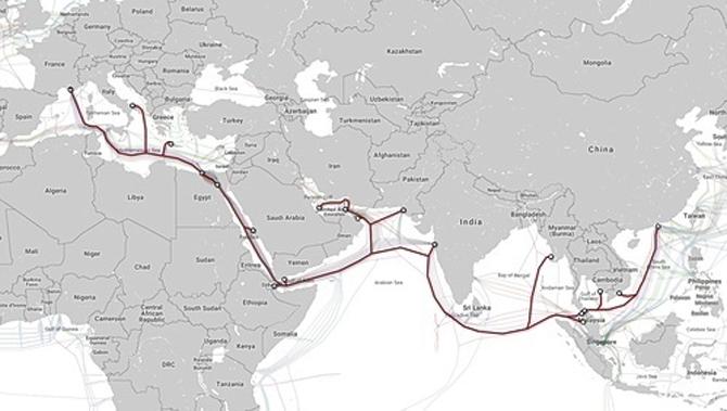 Hướng kết nối của AAE-1 từ Việt Nam đi quốc tế. Ảnh:FPT Telecom.