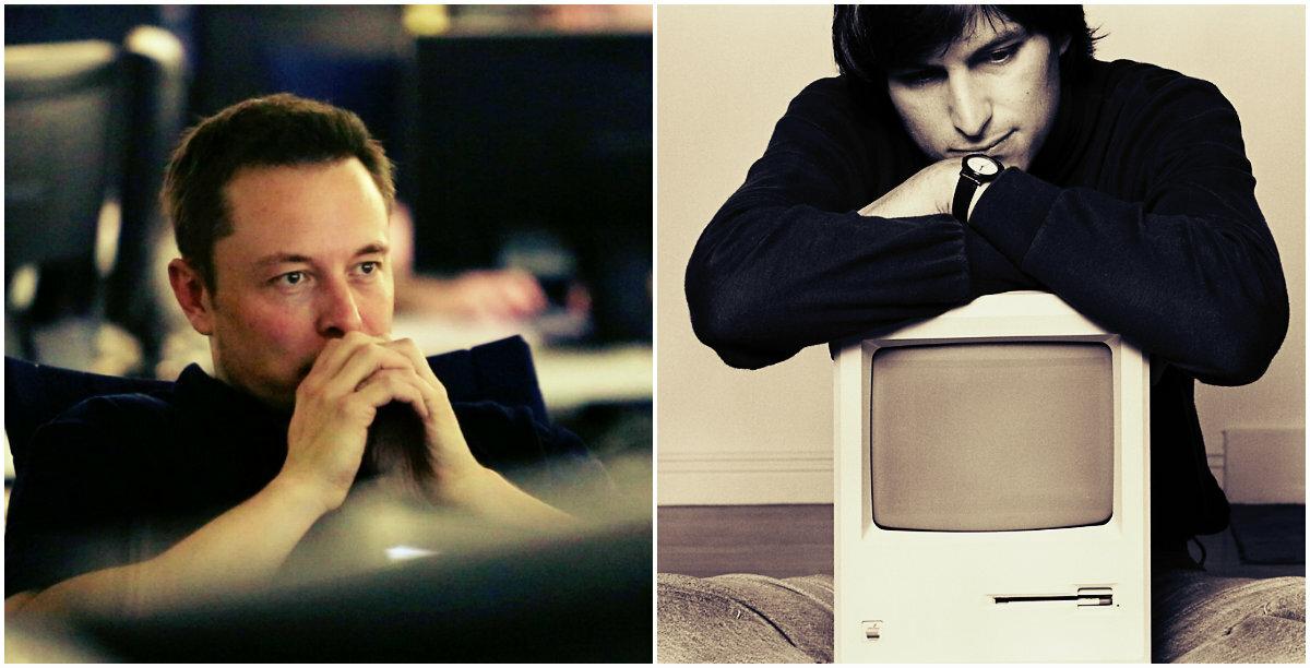Nếu tìm một nhân vật xứng đáng là truyền nhân của Steve Jobs (ảnh phải) trong thế giới công nghệ hiện nay thì có lẽ không ai xứng đáng hơn Elon Musk. Ảnh: ED Times.