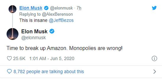 Elon Musk không ngại nhắm thẳng vào Jeff Bezos.